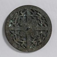 緑松石象嵌透彫鏡-1