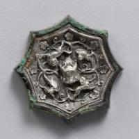 貼銀双獣双鳳紋八弧鏡-1